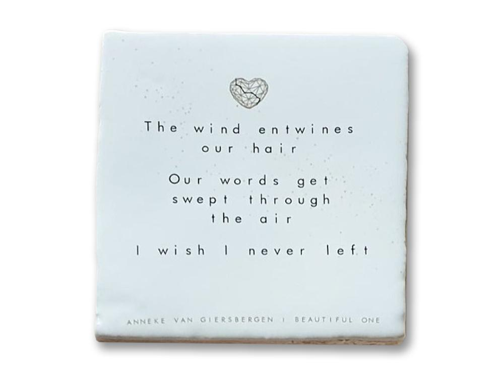 Beautiful One - signed! Light-colored ceramic lyric tile