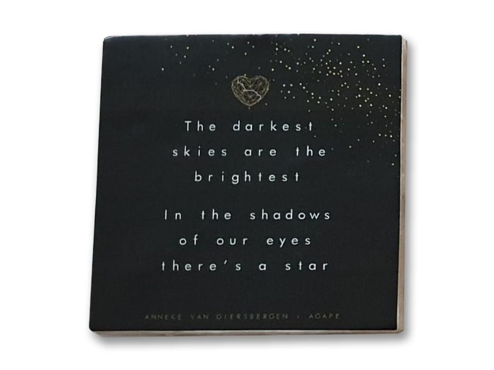 Agape - signed! Dark-colored ceramic lyric tile