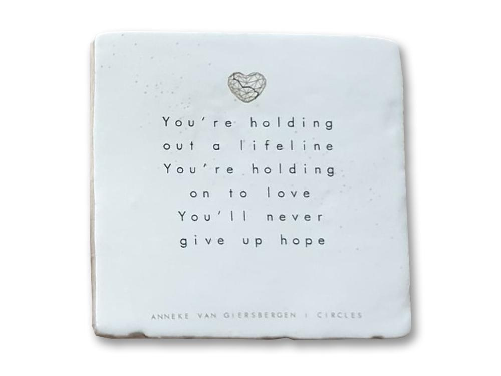 Circles - signed! Light-colored ceramic lyric tile